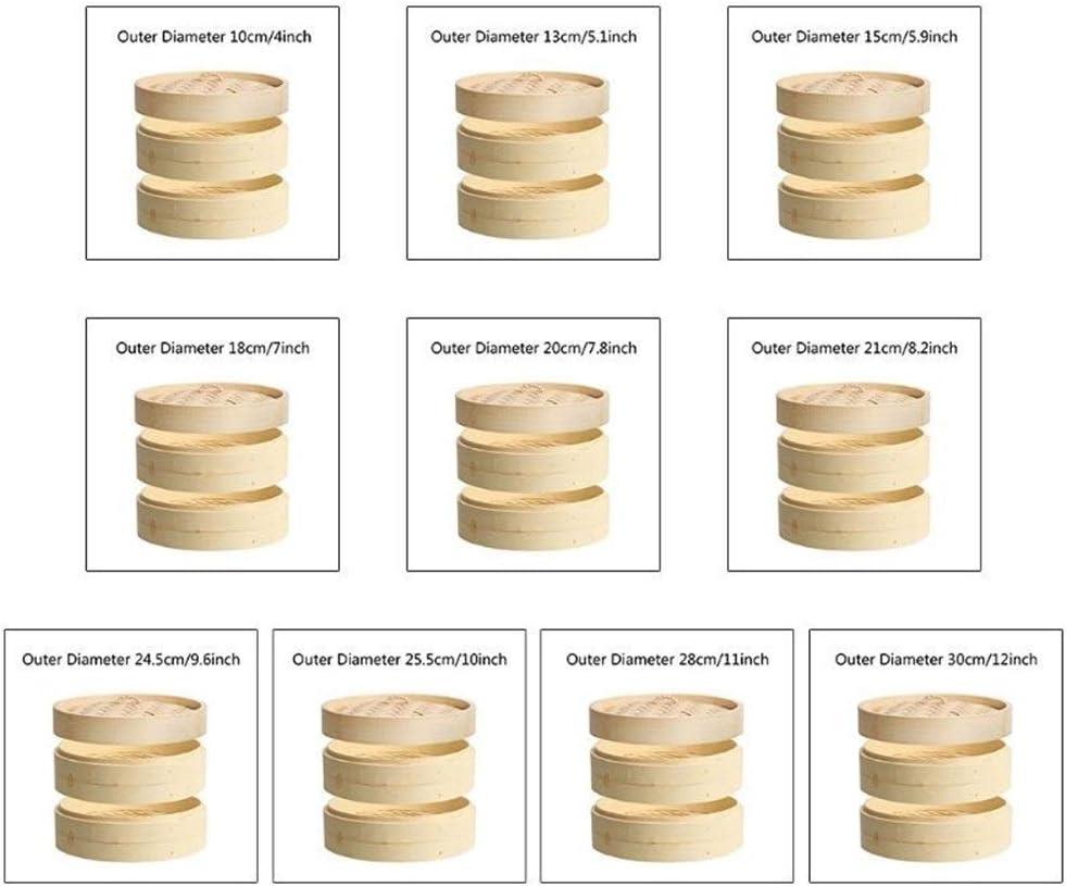2 Tier avec couvercle en bambou Panier vapeur asiatique Cuit-vapeur for Dim Sum Dumplings Gaodpz (Couleur : A) I