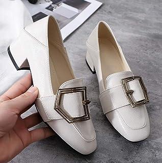 XL_nsxiezi Vintage Estudiante Zapatos de Cuero pequeños Damas Tacones Altos