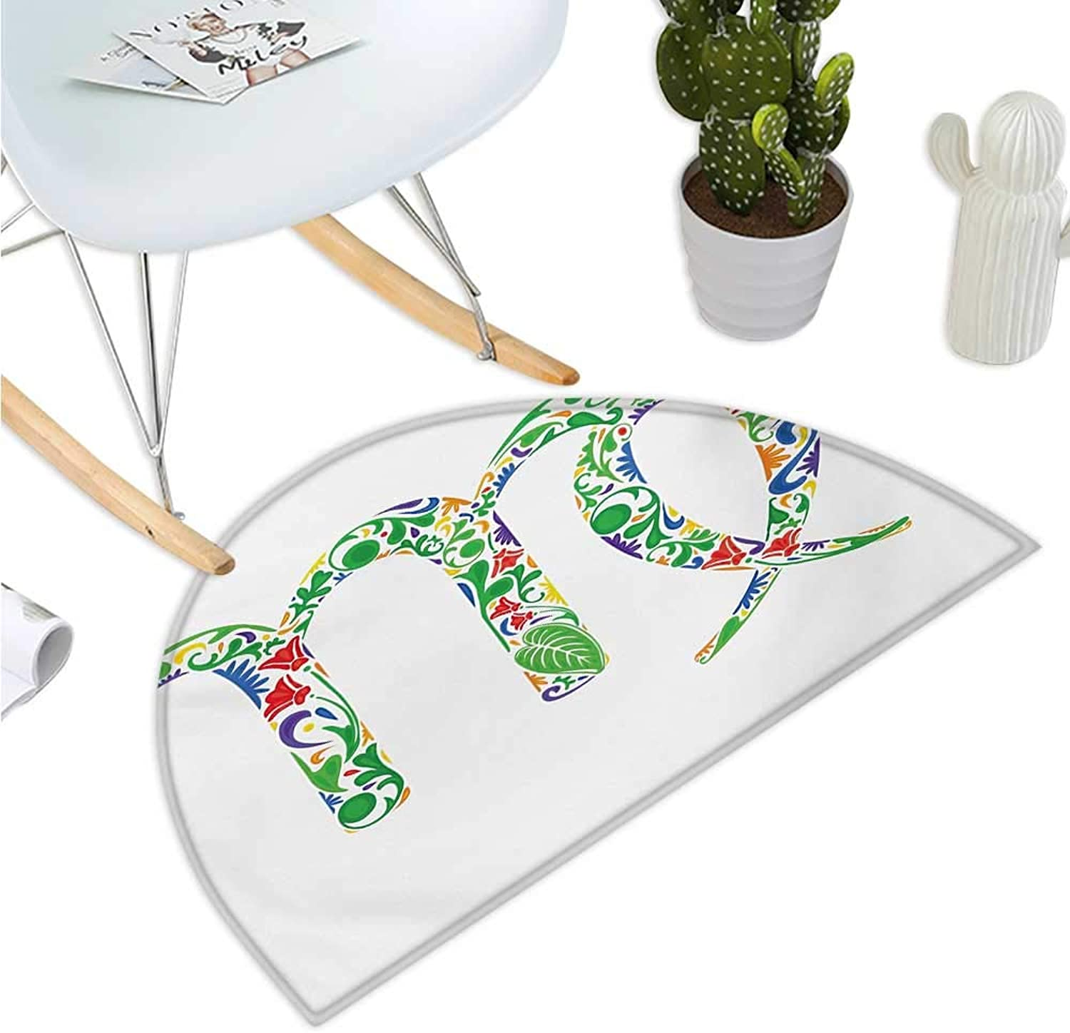 Zodiac Virgo Semicircular Cushion Floral Symbol with Blossoms and Green Leaves Artistic and colorful Ornaments Entry Door Mat H 39.3  xD 59  Multicolor