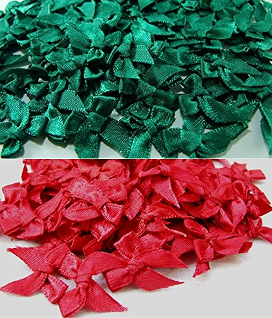 ICRAFY 100 Satin Ribbon Bows Christmas Style Tiny Bows Mini Embellishment Craft Artificial Applique Wedding Dark green & Dark Red Color size ribbon width 7 mm.