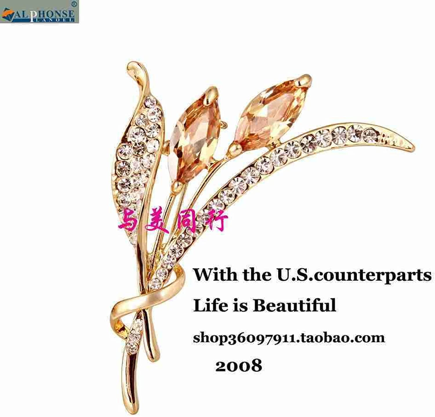 Fashion Rhinestone Zircon Wheat Brooch pin Badge Temperament Corsage pin high-end Personalized Jewelry Accessories Suit Coat Tide