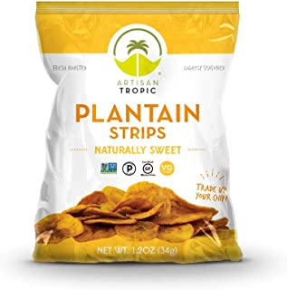 Artisan Tropic Plantain Strips - Your Tasty and Healthy Snack Alternative - Paleo, Gluten Free, Vegan, Non-GMO - Made With Sustainable Palm Oil and No Added Sugar (Sweet, 1.2 oz|16 pack)