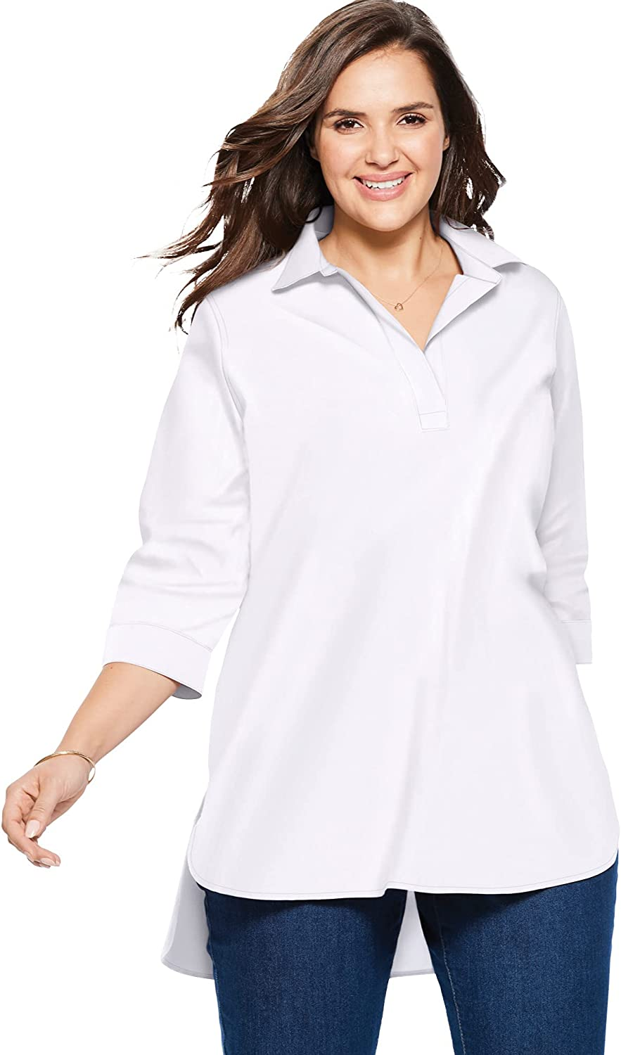 Woman Within Women's Plus Size Perfect Popover Collared Shirt