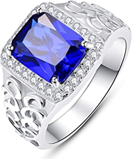 BONLAVIE Men's Wedding Engagement Rings Emerald Cut 810mm Created Sapphire Emerald White Cubic Zirconia 925 Sterling Silver Bands Size 6-12
