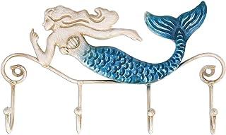 Homyl 装飾人魚イルカウォールマウント4-フックキーラックハンガーキーホルダー素朴な家庭の台所浴室mudroomアート装飾 - 23x3x13cm
