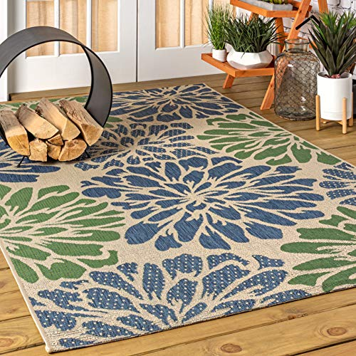 JONATHAN Y Zinnia Modern Floral Weave Indoor/Outdoor, Bohemian,EasyCleaning,HighTraffic,LivingRoom,Backyard, Non Shedding Area Rug, 3 X 5, Navy/Green