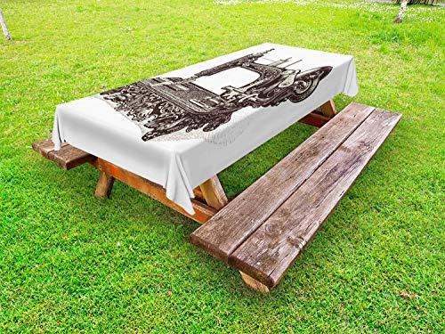 ABAKUHAUS Steampunk Tafelkleed voor Buitengebruik, Oude naaimachine, Decoratief Wasbaar Tafelkleed voor Picknicktafel, 58 x 104 cm, Donkerbruin en ivoor