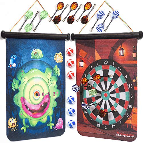 Magnetic Dart Board – Double-Sided 15-Inch Scoreboard, Colorful Designs – 4 Games, 12 Neodymium Magnet Darts, 6 Sticky Balls, 2 Wall Mount Hooks – Fun for the Whole Family, Safe Toy for Kids