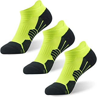 NIcool Men's Running Low Cut Socks, Sports Anti-Blister Cushioned Arch Support Performance Athletic Hiking Cycling Tab Socks, 3 Pairs, Bright Green