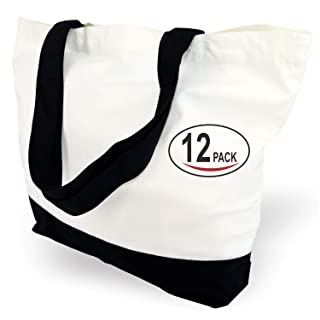 TOPDesign 3 | 6 | 12 | 24 Pack Super Strong Large 11oz Cotton Canvas Tote Bags, Reusable Grocery Shopping Cloth Bags, Fashionable Two Tone Bags for Crafts, DIY Your Creative Designs (Pack of 12)