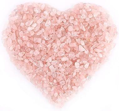 Hilitchi Quartz Stones Tumbled Chips Stone Crushed Crystal Natural Rocks Healing Home Indoor Decorative Gravel Feng Shui Healing Stones (About 1lb(450g)/Bag) (Rose Quartz)