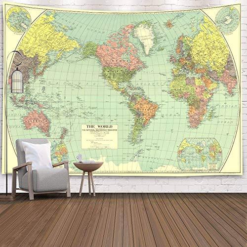 WERT Mapa del Mundo 3D geométrico Tapiz Colgante de Pared Toalla de Playa decoración del hogar Tapiz de Tela de Fondo A20 180x200cm