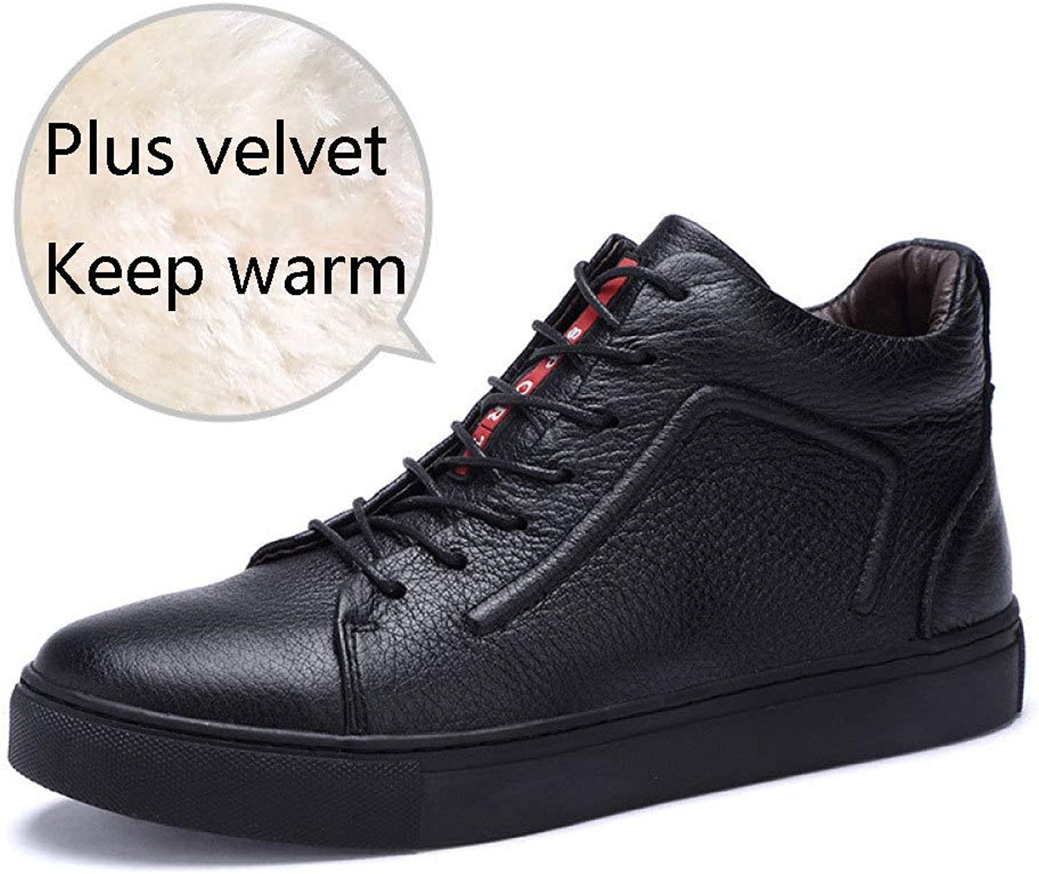 shoes Men's Martin Boots Ankle Footwear Winter Plus Velvet Warm Tooling Cotton Leather Boots Non-Slip High-top Desert shoes,Black-40