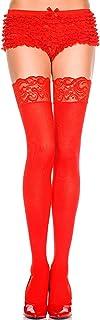 ThreeH 2 pares de medias hasta el muslo para mujer Calcetines de encaje Medias de nylon opacas Medias C468
