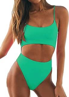 Womens Sexy Scoop Neck Straps Cutout Lace up Back High Waist Thong 1PCS Padded Swimsuit Bikini Sets