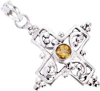 Ravishing Impressions Jewellery Colgante de plata de ley 925 con piedras preciosas de citrino para ella FSJ-5342