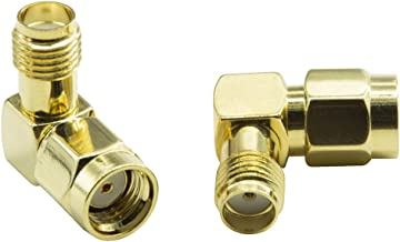 HIGHFINE 2X RP-SMA Male (Jack) to SMA Female (Jack) Right Angle 90-Degree Adapter Gold Plated Connectors Contacts