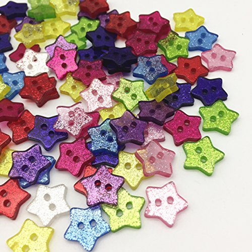 14mm Mixed Glitter Star Buttons Resin Sparkle Sewing 2 Holes Christmas Button Embellishments Scrapbooking Cardmaking Pack of 150