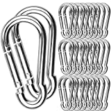 30Pack Spring Snap Hook, 2-3/8Inch Zinc-Galvanized Steel Carabiner Clips, 260lbs Load Capacity Keychain Quick Links, Quick Carabiner Clips for Dog Leash, Backpack, Hammocks, Camping and Swing