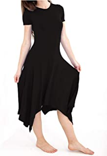 Loxdonz Women`s Short Sleeve Casual Plain Long Dress Plain Flared Swing Midi Dresses