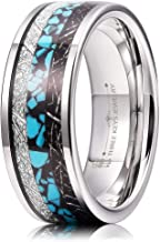 THREE KEYS JEWELRY 6mm 8mm Turquoise Imitated Meteorite Inlay Tungsten Wedding Ring Black Rose Gold Band