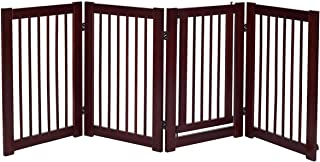 Giantex 30'' Configurable Dog Gate with Door, Freestanding Pet Gate for Pets, Walk Through Wooden Pet Gate, Foldable Panels for House Doorway Stairs, Extra Wide Pet Safety Fence (80'' W)