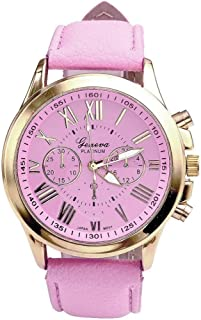 Women's Geneva Roman Numerals Faux Leather Watches Business Analog Quartz Wrist Watch Stylish Quartz Ladies Simple Casual Watch Leather Belt Watches Women (Pink)