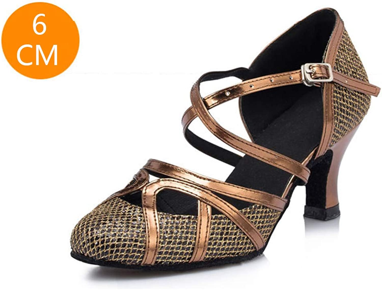 T-Starp Closed Toe Glitter Synthetic Womens Tango Ballroom Modern Latin Dance shoes Evening Wedding,Brass(Heel 6cm),37EU