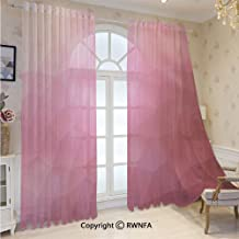 RWNFA Voile Sheer Curtains Abstract Various Shades of Gradient Toned Pink with Fragmented Effects Grommets Sheer Curtain Drapes for Bedroom 52 x 84 Inch 2 Panels,Magenta Fuchsia