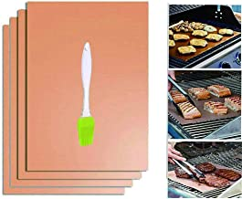 Copper Grill Mat Set of 4 Bestie-Gear Non-stick Reusable Easy to Clean and Heat Resistant BBQ Bake Mats for Charcoal, Electric and Gas Baking Mats with Gifted Pastry Oil Brush (4 Packs)