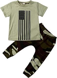 Newborn Baby Boys Short Sleeve Flag Print T-Shirt Tops Camo Pants Summer 2Pcs Outfits