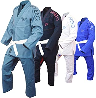 Jayefo Mens BJJ GI Brazilian JIU Jitsu Preshrunk Lightweight Pearl Weave Fabric IBJJF Legal - Free White Belt- 2 Years Warranty