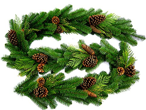 Fine Expectations Juniper Pine Garland, 9' by 14', Natural Looking Texture and Color of Freshly Cut Needles, Select Pine Cones & Cedar Sprigs, Designer Preferred for Holiday and Christmas Decorating