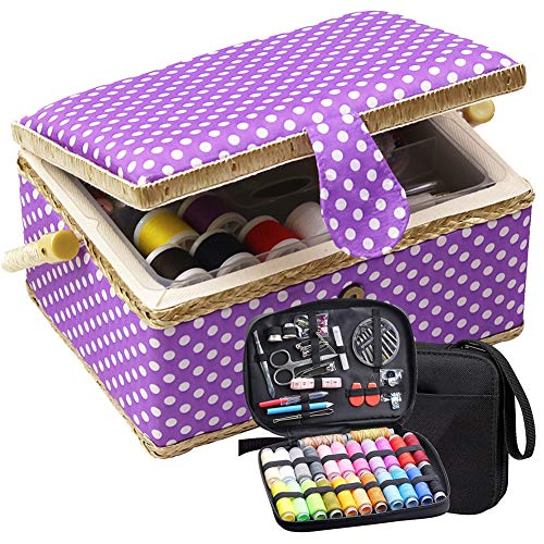 D&D Large Sewing Basket with Sewing Kit, Sewing Box Organizer for Sewing Supplies Storage, DIY Sewing Kit for Adults, Beginner, Kids, Travel and Home