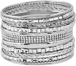 US AMY Textured Multiple Bangle Bracelet & Bangles for Women's Mixed Metal Set W/Clear Rhinestones