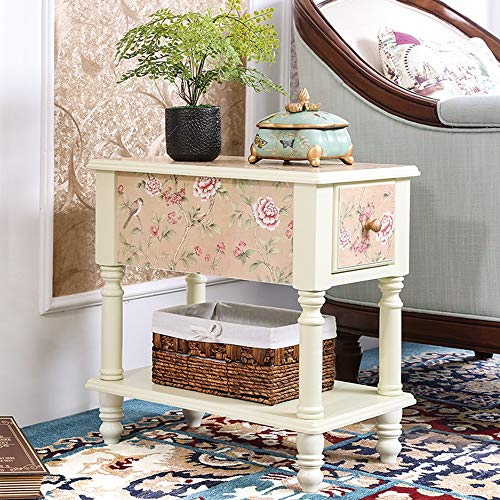 FEI Table d'appoint avec tiroir Table de chevet pour chambre à coucher Table d'appoint Table basse avec tiroir Table de rangement Armoire de chevet (Couleur : Ivory white, taille : Large)