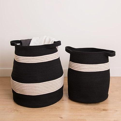 Aufbewahrungstaschen Xuan - Worth Another Baumwollfaden Schwarzund Weißschmutzigen Kleidung Korb speichern schmutzige Kleidung K e Spielzeug Finishing Box