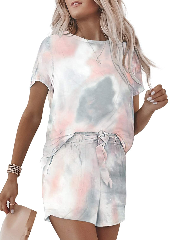ROSKIKI Womens Tie Dye Printed Pajamas Set Short Sleeve Tee and Pants PJ Set Loungewear Nightwear Sleepwear : Clothing, Shoes & Jewelry
