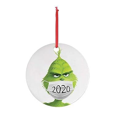 2020 ornamento de Navidad de cuarentena Grinch mano ornamento de Navidad para árboles de Navidad, personalizar Grinch Ornamento, cuarentena ornamento 2020 - Decoraciones de Navidad Liquidación (E)