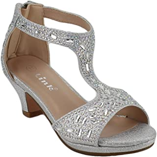 153b0a0aebc Link Excited-95K Girl s Glitter Rhinestone T-Strap Back Zipper Wrapped Heel  Sandals