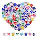 60 Pieces Assorted European Beads with Plating Silver Metal Alloy Spacer Beads No Copper Core Painted Colorful Craft Beads for DIY Charm Bracelet Jewelry Making (Color Coating Alloy)