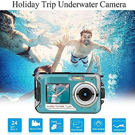 Waterproof Underwater Digital Cameras for Snorkeling,Waterproof Camera Digital Underwater Video Recorder Camera-Dual Screen Selfie Camera