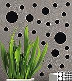 Kleb-drauf - 25 Punkte/Schwarz - matt - Aufkleber zur Dekoration von Wänden, Glas, Fliesen und...
