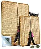 VALKYRA - Rascador para gatos autoadhesivo, alfombrillas de sisal para superficies horizontales y verticales, juego de plumas y hierba gata (Valkyra Set, natural).