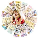 Yuccer Gommettes Enfants, 3D Gommettes Animaux Bebe Autocollants Mousse Y Compris Alphabet ,Coeur,Etoiles,15 Feuilles (15 Feuilles)