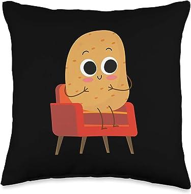 Couch Potatoes Potato lazy tv sofa Designs Couch Potato Lazy tv Sofa Throw Pillow, 16x16, Multicolor