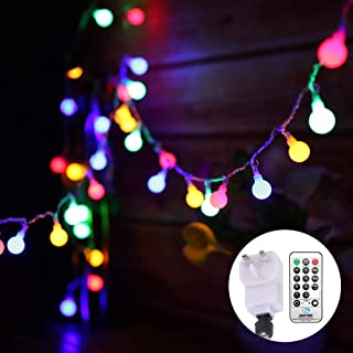 Globe String Lights Mains Powered 13M/43ft 100 LED Outdoor Fairy Lights Multi-Color 8 Modes Waterproof with Remote Control...