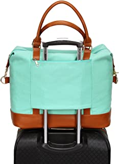 Women Ladies Canvas Travel Weekender Bag Overnight Carry-on Tote Shoulder Bag Duffel in Trolley Handle (Mint Green)