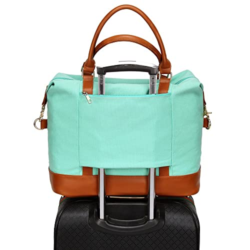 927e4e68a92 Women Ladies Canvas Travel Weekender Bag Overnight Carry-on Tote Shoulder  Bag Duffel in Trolley