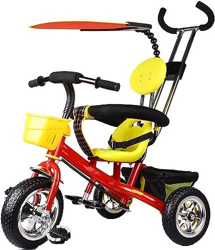 YUMEIGE Tricycles Roue moussante Tricycle pour Enfants Poids de Charge 25 kg 2-6 Ans Cadeau d'anniversaire Trousseau pour Enfant Trike avec auvent (Garçon Fille) Peut Obtenir (Couleur   Rouge)